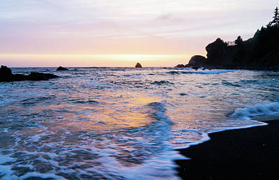 Poster featuring the photograph Pacific Coast Sunset by TL Mair
