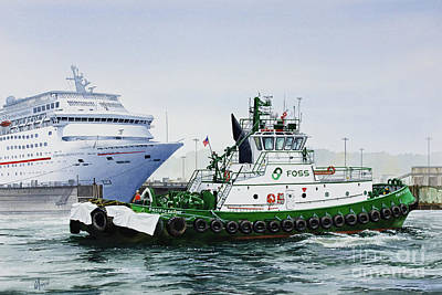 Poster featuring the painting Pacific Escort Cruise Ship Assist by James Williamson