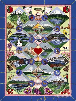 Pacific Northwest Quilt Poster by Jennifer Lake