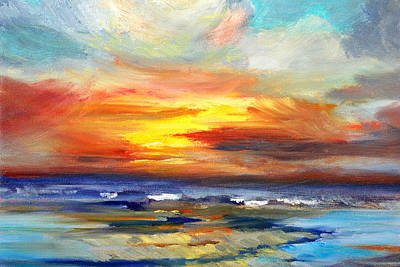 Pacific Sunset Glow Poster by Nancy Merkle