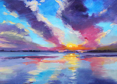 Pacific Sunset Poster by Nancy Merkle