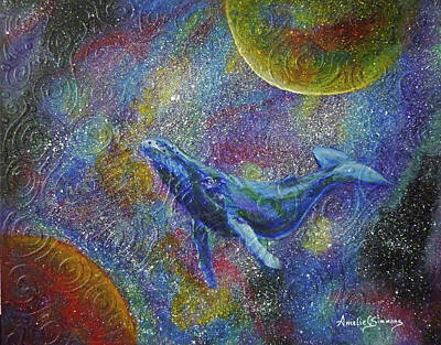Poster featuring the painting Pacific Whale In Space by Amelie Simmons
