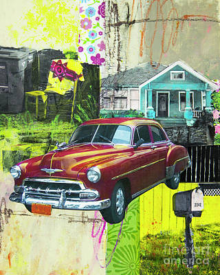 Poster featuring the mixed media Packard by Elena Nosyreva
