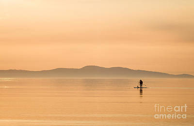 Paddle Boarding At Sunrise Poster