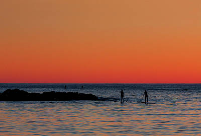 Paddleboarding Pairs - Mackinzie Beach Sunset Poster by Mark Kiver