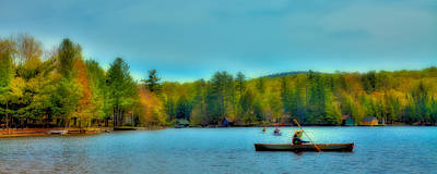 Paddlers On Old Forge Pond Poster