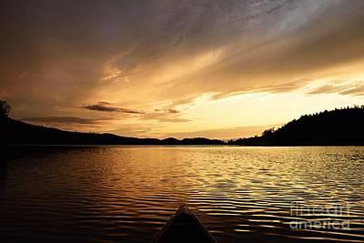 Paddling At Sunset On Kekekabic Lake Poster by Larry Ricker