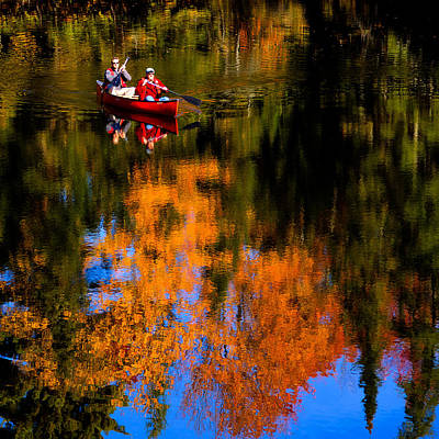 Paddling The Moose River In Autumn Poster