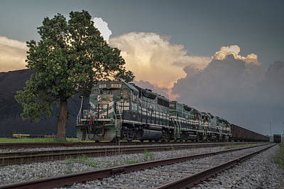Paducah And Louisville Railway Dpu Coal Train At Calvert City, Ky Poster