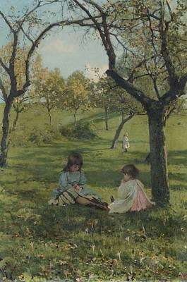 Paesaggio Con Bimbe Poster