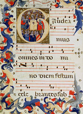 Page Of Musical Notation With A Historiated Letter G Poster by Italian School