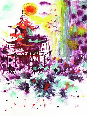 Poster featuring the painting Pagoda by Zaira Dzhaubaeva