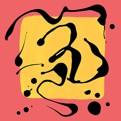 Paint Dance Yellow Square On Pink Poster by Amy Vangsgard