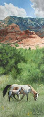 Paint Horses At Caprock Canyons Poster by Anna Rose Bain