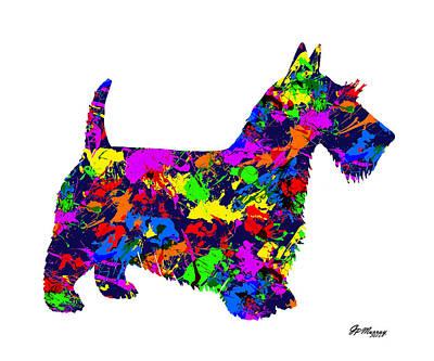 Paint Splatter Scottish Terrier Poster