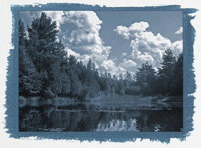 Painted Cyanotype Pond Reflections Poster