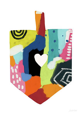 Painted Dreidel With Heart- Art By Linda Woods Poster by Linda Woods