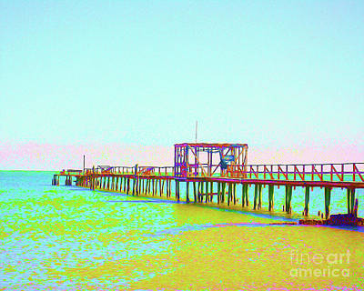 Painted Fishing Pier Poster by Chris Andruskiewicz