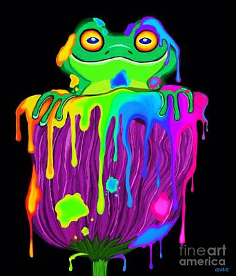Poster featuring the digital art Painted Flower Frog  by Nick Gustafson