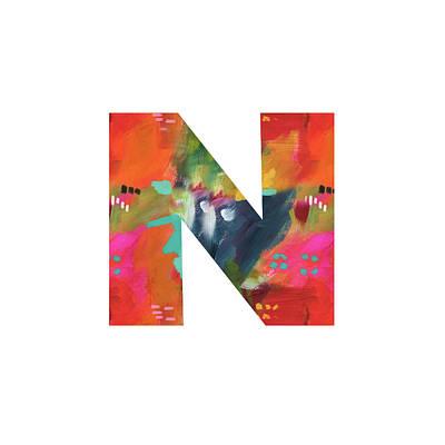 Painted Letter N-monogram Art By Linda Woods Poster
