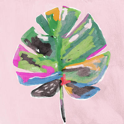 Poster featuring the mixed media Painted Palm Leaf 2- Art By Linda Woods by Linda Woods