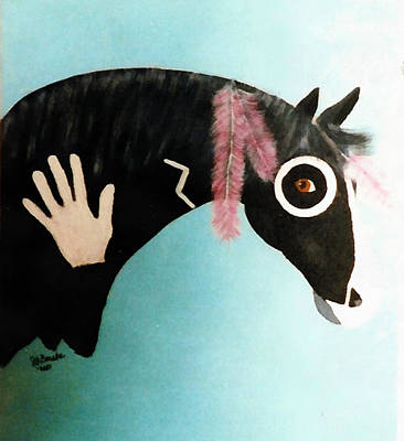 Painted Pony With Feather Poster