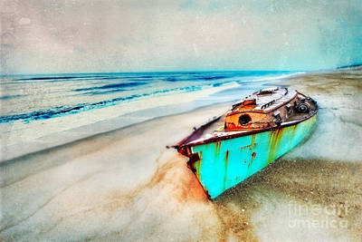 Painted Shipwreck On The Outer Banks II Poster by Dan Carmichael