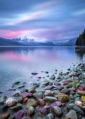 Painted Skies Over Stanton Peak // Lake Mcdonald, Glacier National Park Poster