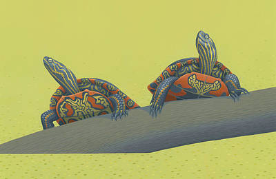 Painted Turtles Poster by Nathan Marcy