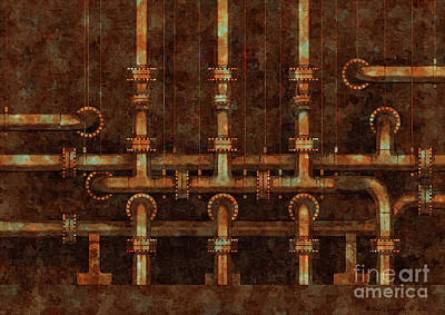 Painterly Pipework At Night - Amcg20160620  Srgb Poster by Michael Geraghty