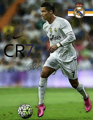 Mixed Media Painting, Signed, Cristiano Ronaldo, Real Madrid, Cr 7 Poster by Thomas Pollart