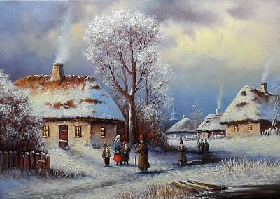 Painting, Landscape Of Old Winter Village Poster by Yaroslav CHYZHEVSKYI