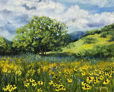Painting Of Black-eyed Susans In Oklahoma Landscape Poster