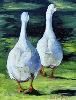 Painting Of Ducks Waddling Home Poster
