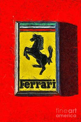 Painting Of Ferrari Badge Poster
