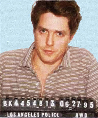 Painting Of Hugh Grant Mug Shot 1995 Black Color Poster by Tony Rubino
