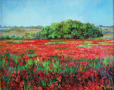 Painting Of Indian Paintbrush In Oklahoma Poster by Cheri Wollenberg