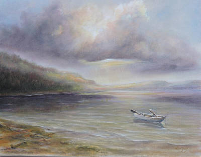 Poster featuring the painting Beach By Sruce Run Lake In New Jersey At Sunrise With A Boat by Katalin Luczay