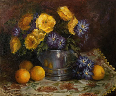 Painting Of Oranges And Poppies Poster by Cheri Wollenberg