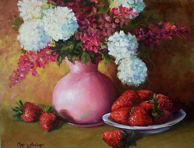 Painting Of Pink Pitcher And Strawberries Poster