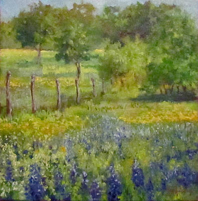 Painting Of Texas Bluebonnets Poster by Cheri Wollenberg