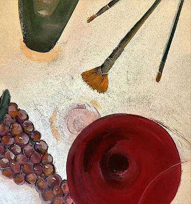 Painting Wine And Brushes Poster