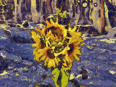 Painting With Five Sunflowers Poster