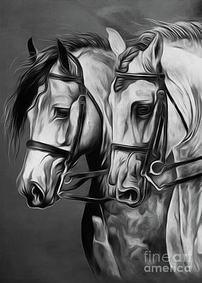 Pair Of Horses Poster by Gull G