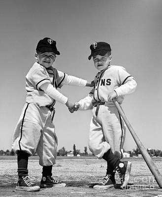 Pair Of Little Leaguers In Uniform Poster