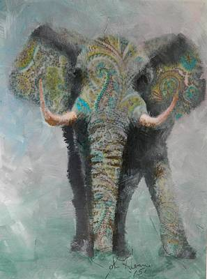 Paisley Elephant Poster
