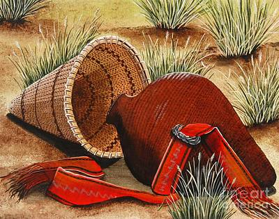 Poster featuring the painting Paiute Baskets by Jennifer Lake