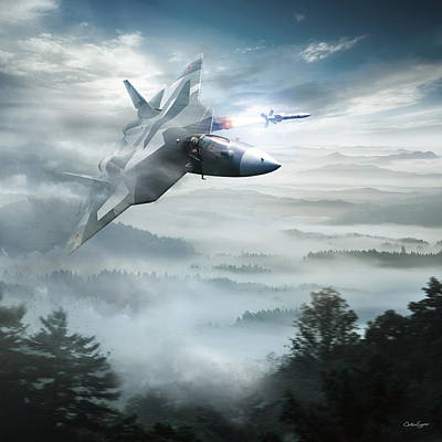 Pak Fa Aka T-50 - Russian Fifth-generation Fighter Jet Poster by Anton Egorov