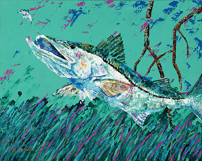 Pallet Knife Snook In The Mangroves Poster