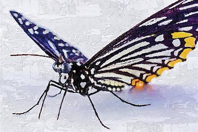 Poster featuring the digital art Pallete Knife Painting Blue Butterfly by PixBreak Art